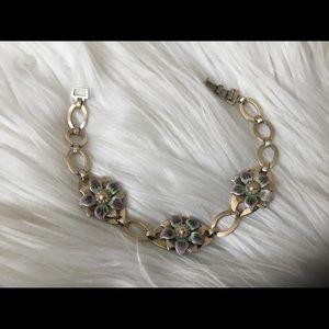 Vintage Sterling & Gold Flower Bracelet!